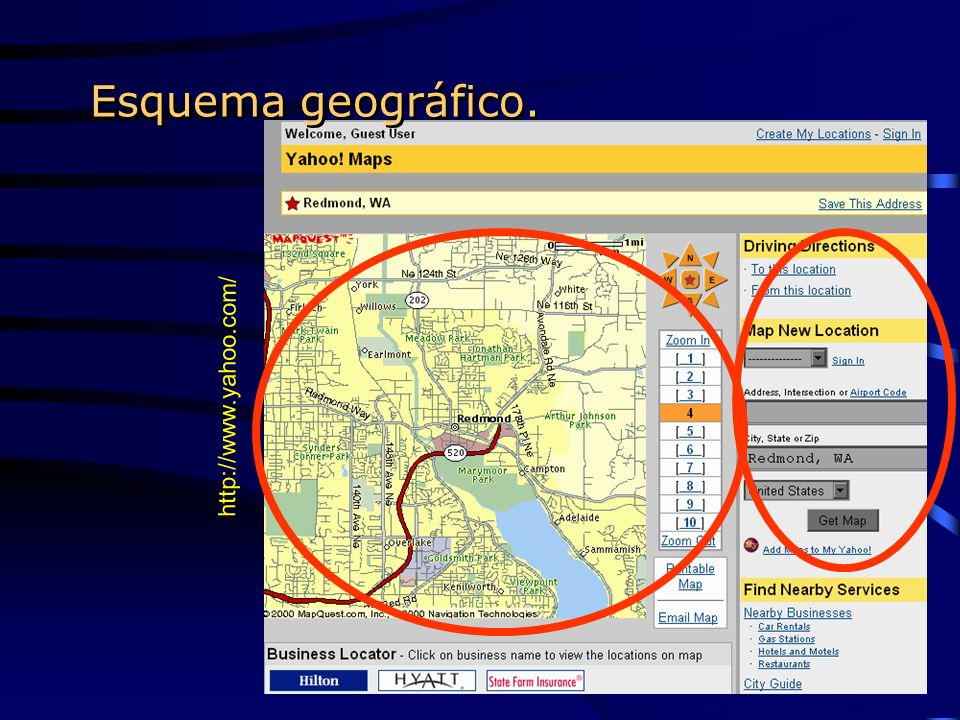Esquema geográfico. http://www.yahoo.com/