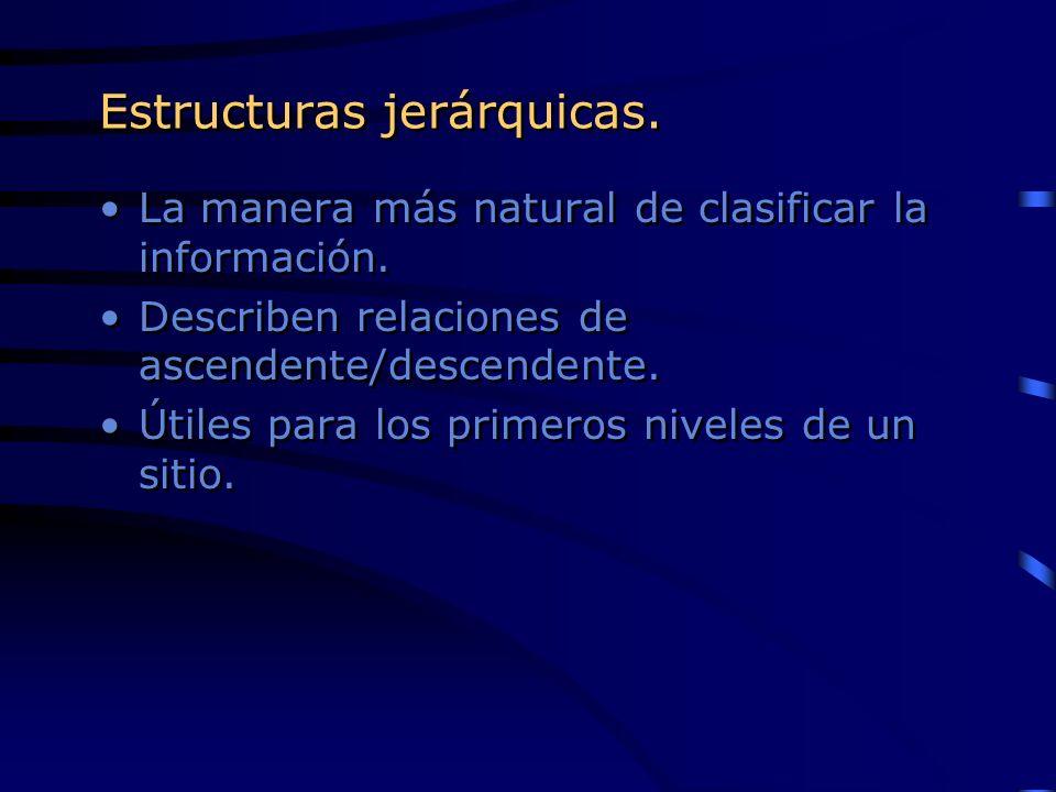 Estructuras jerárquicas. La manera más natural de clasificar la información. Describen relaciones de ascendente/descendente. Útiles para los primeros