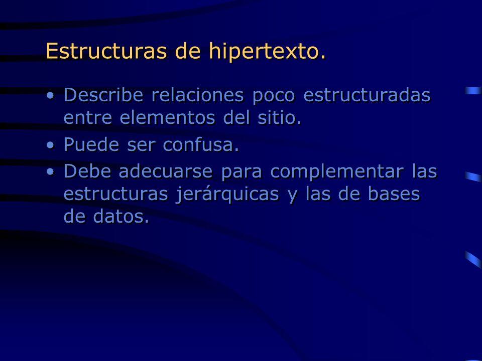 Estructuras de hipertexto. Describe relaciones poco estructuradas entre elementos del sitio. Puede ser confusa. Debe adecuarse para complementar las e