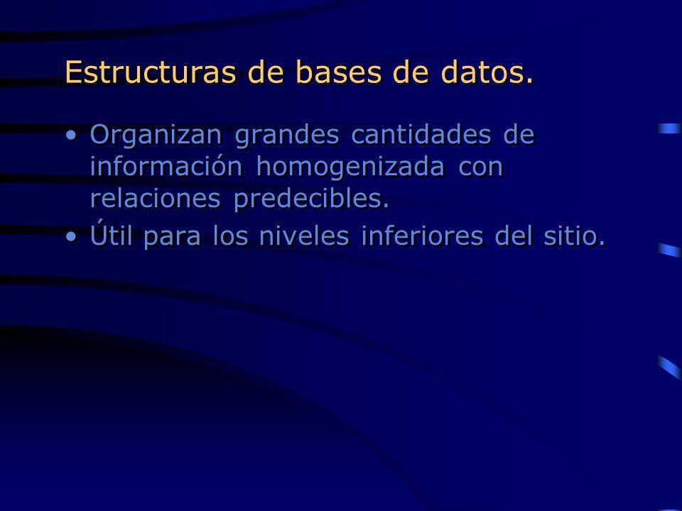 Estructuras de bases de datos. Organizan grandes cantidades de información homogenizada con relaciones predecibles. Útil para los niveles inferiores d