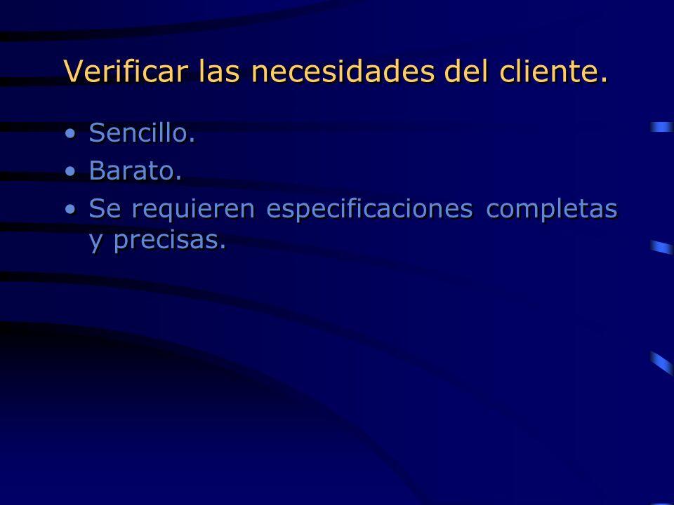 Verificar las necesidades del cliente. Sencillo. Barato. Se requieren especificaciones completas y precisas. Sencillo. Barato. Se requieren especifica