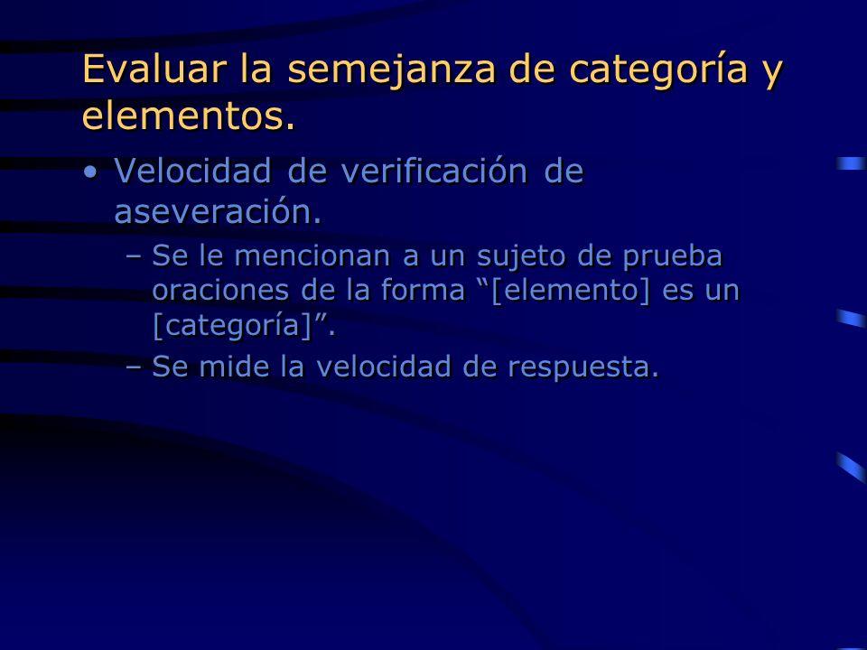 Evaluar la semejanza de categoría y elementos. Velocidad de verificación de aseveración. –Se le mencionan a un sujeto de prueba oraciones de la forma