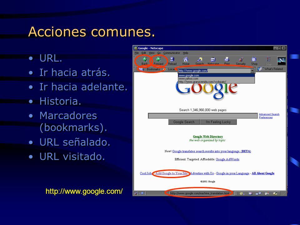 Acciones comunes. URL. Ir hacia atrás. Ir hacia adelante. Historia. Marcadores (bookmarks). URL señalado. URL visitado. URL. Ir hacia atrás. Ir hacia