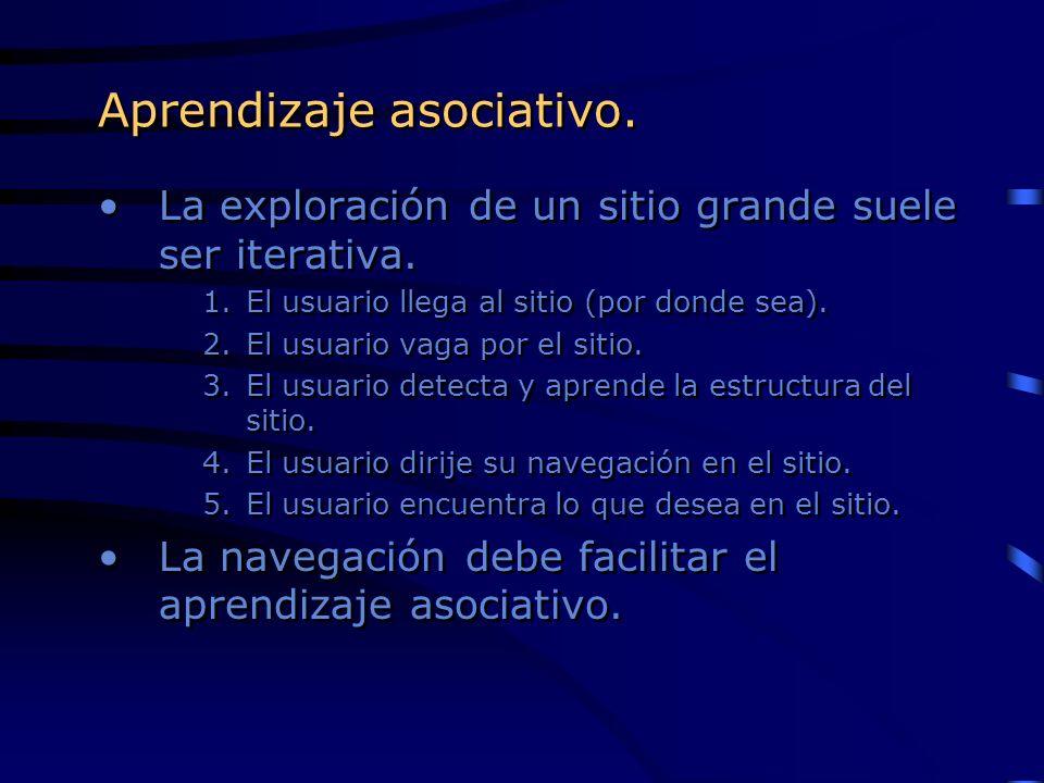 Aprendizaje asociativo. La exploración de un sitio grande suele ser iterativa. 1.El usuario llega al sitio (por donde sea). 2.El usuario vaga por el s