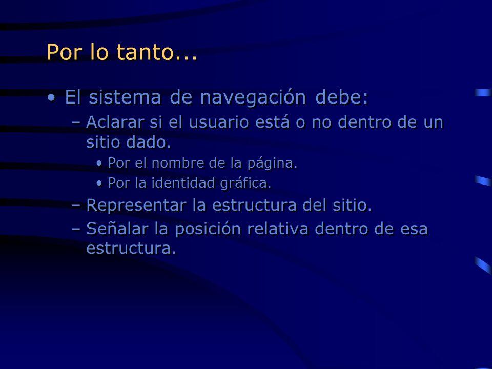 Por lo tanto... El sistema de navegación debe: –Aclarar si el usuario está o no dentro de un sitio dado. Por el nombre de la página. Por la identidad