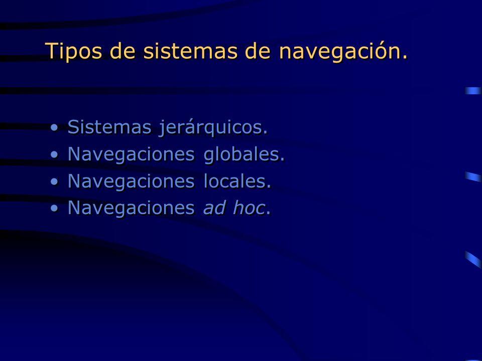 Tipos de sistemas de navegación. Sistemas jerárquicos. Navegaciones globales. Navegaciones locales. Navegaciones ad hoc. Sistemas jerárquicos. Navegac
