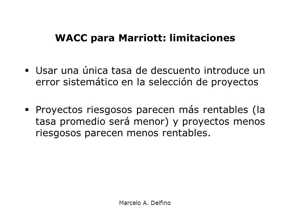 Marcelo A. Delfino WACC para Marriott: limitaciones Usar una única tasa de descuento introduce un error sistemático en la selección de proyectos Proye