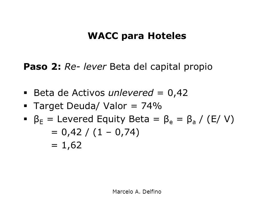 Marcelo A. Delfino WACC para Hoteles Paso 2: Re- lever Beta del capital propio Beta de Activos unlevered = 0,42 Target Deuda/ Valor = 74% β E = Levere