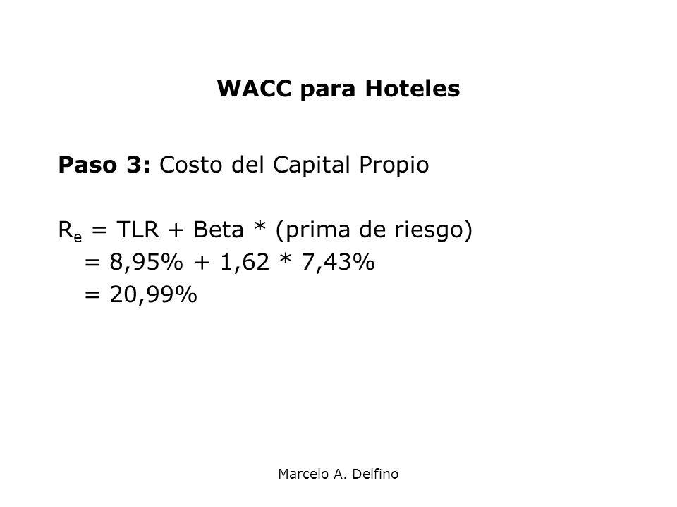 Marcelo A. Delfino WACC para Hoteles Paso 3: Costo del Capital Propio R e = TLR + Beta * (prima de riesgo) = 8,95% + 1,62 * 7,43% = 20,99%