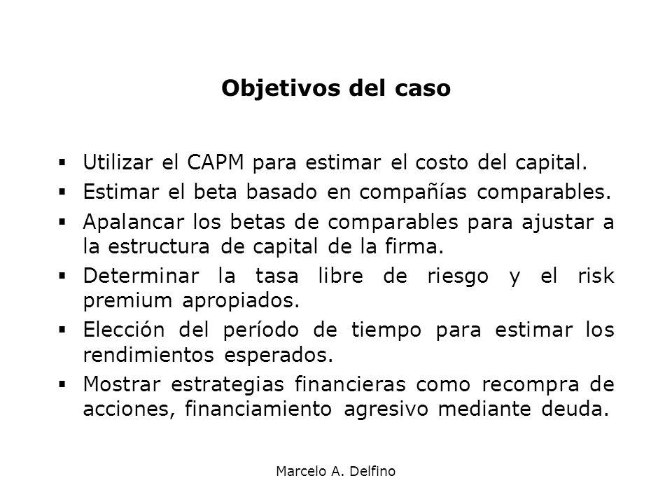 Marcelo A. Delfino Objetivos del caso Utilizar el CAPM para estimar el costo del capital. Estimar el beta basado en compañías comparables. Apalancar l