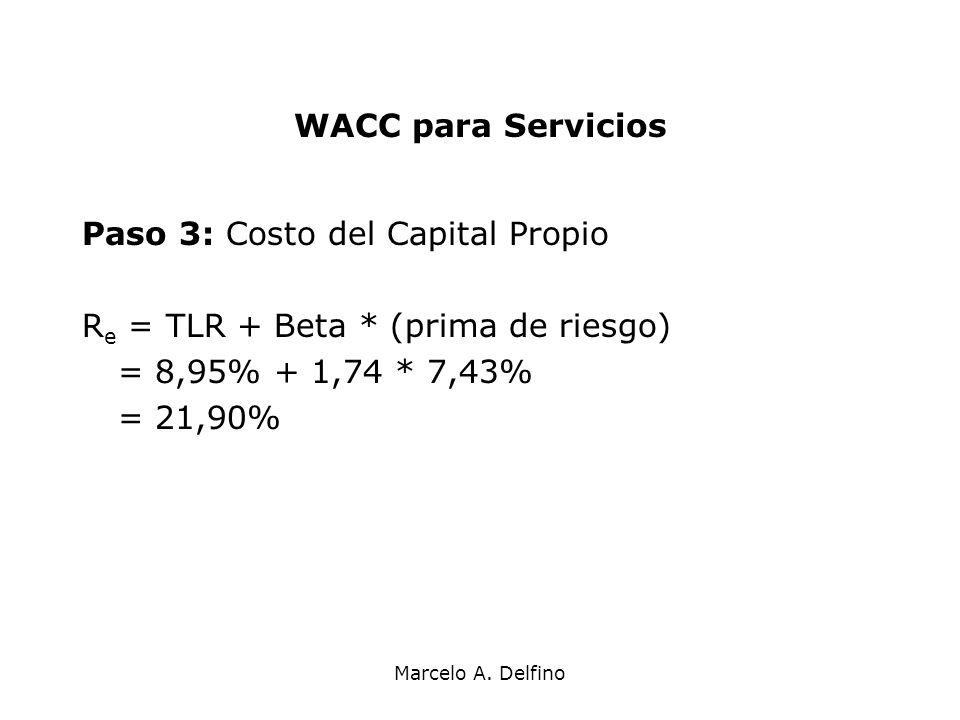 Marcelo A. Delfino WACC para Servicios Paso 3: Costo del Capital Propio R e = TLR + Beta * (prima de riesgo) = 8,95% + 1,74 * 7,43% = 21,90%