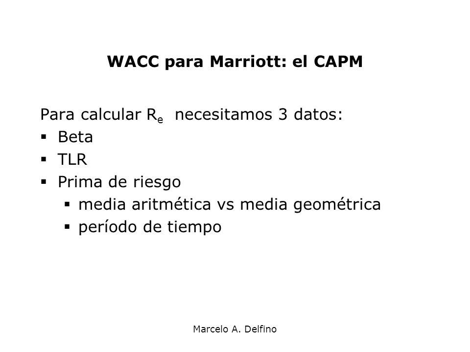 Marcelo A. Delfino WACC para Marriott: el CAPM Para calcular R e necesitamos 3 datos: Beta TLR Prima de riesgo media aritmética vs media geométrica pe