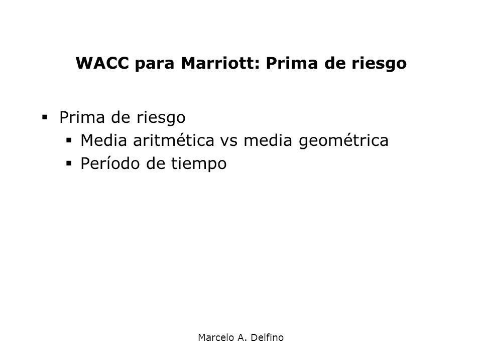 Marcelo A. Delfino WACC para Marriott: Prima de riesgo Prima de riesgo Media aritmética vs media geométrica Período de tiempo