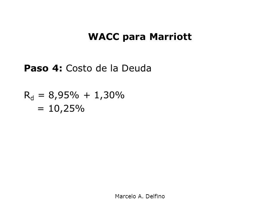 Marcelo A. Delfino WACC para Marriott Paso 4: Costo de la Deuda R d = 8,95% + 1,30% = 10,25%