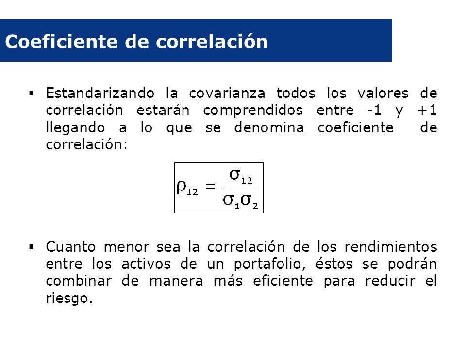 Coeficiente de correlación Estandarizando la covarianza todos los valores de correlación estarán comprendidos entre -1 y +1 llegando a lo que se denom