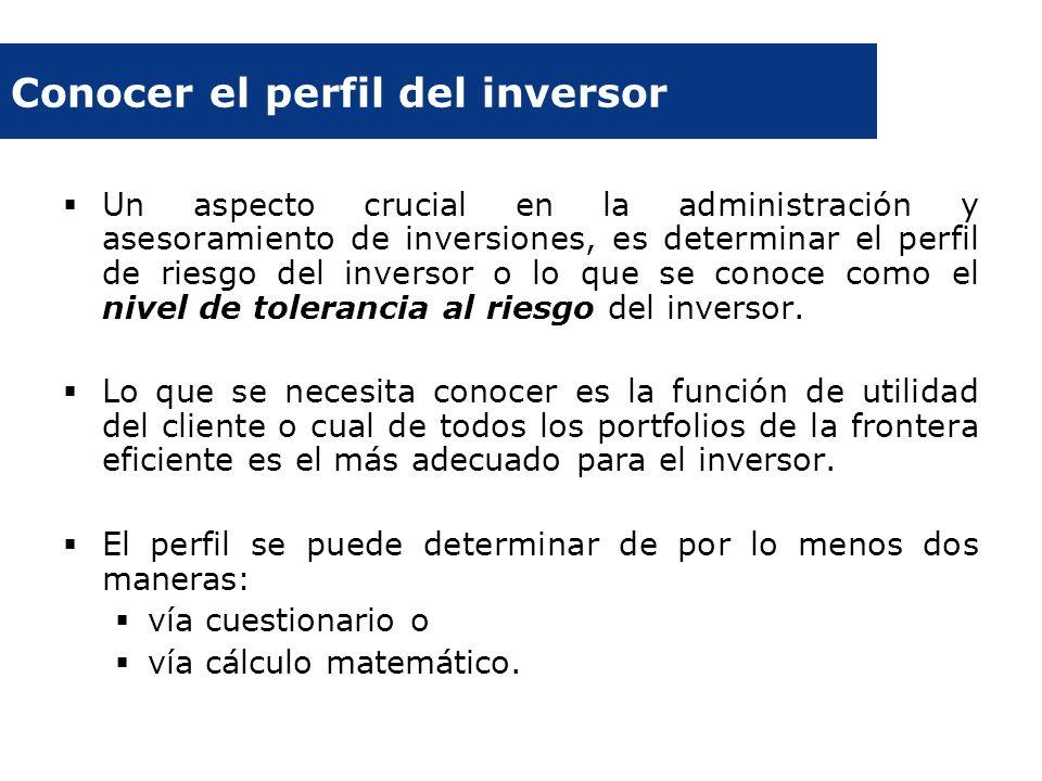 Conocer el perfil del inversor Un aspecto crucial en la administración y asesoramiento de inversiones, es determinar el perfil de riesgo del inversor
