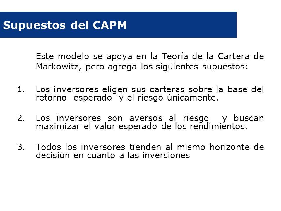 Supuestos del CAPM Este modelo se apoya en la Teoría de la Cartera de Markowitz, pero agrega los siguientes supuestos: 1.Los inversores eligen sus car