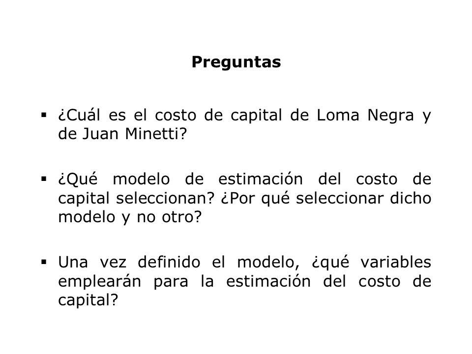 Modelos para estimar el costo del capital Arbitrage Pricing Model (APM) World CAPM: igual al Local CAPM, pero utilizando parámetros globales Local CAPM ajustado por riesgo país k A = r F + β ( E(r M ) – r F ) + PRPPRP: Prima de riesgo país k A = r F + β ( E(r M ) – r F + PRP) k A = r F + β ( E(r M ) – r F ) + Θ PRP)Θ: coeficiente de ajuste CAPM Modificado (sumando riesgo soberano y ajustando) JP Morgan - Modified world CAPM: k A = r Fworld + β ADJ (E(r Mworld )–r Fworld ) β ADJ =0.64 σ PAÍS /σ world Godfrey & Espinosa (Bank of America): k A = r F US + PRP + β ADJ (E(r M US ) – r F US ) β ADJ = 0.60 σ PAÍS /σ US