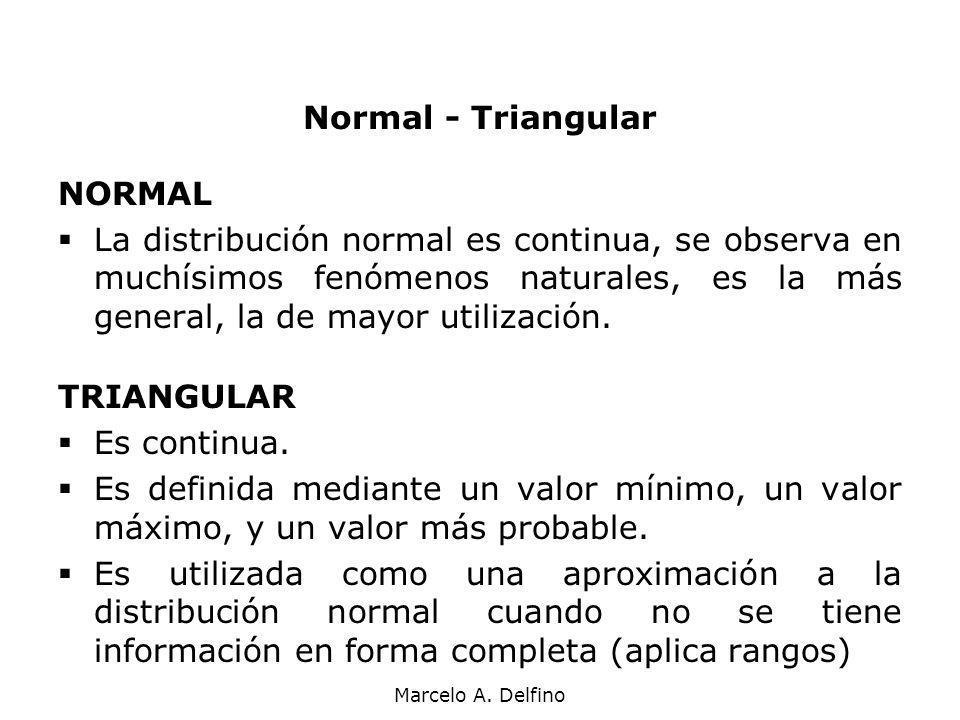 Marcelo A. Delfino Normal - Triangular NORMAL La distribución normal es continua, se observa en muchísimos fenómenos naturales, es la más general, la