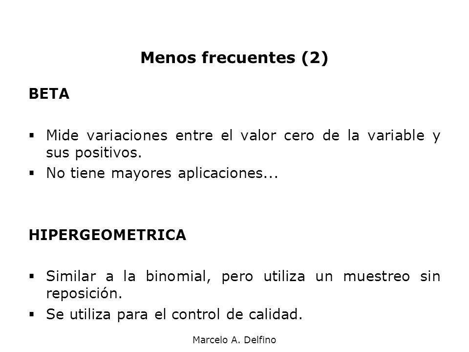 Marcelo A. Delfino Menos frecuentes (2) BETA Mide variaciones entre el valor cero de la variable y sus positivos. No tiene mayores aplicaciones... HIP