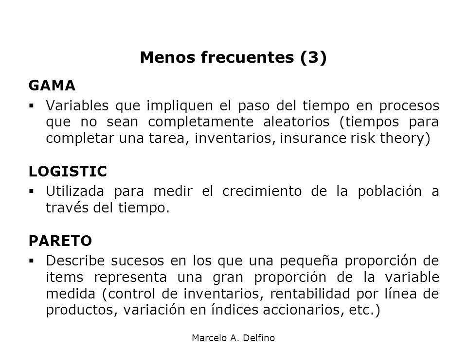 Marcelo A. Delfino Menos frecuentes (3) GAMA Variables que impliquen el paso del tiempo en procesos que no sean completamente aleatorios (tiempos para