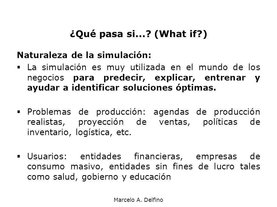 Marcelo A. Delfino ¿Qué pasa si...? (What if?) Naturaleza de la simulación: La simulación es muy utilizada en el mundo de los negocios para predecir,