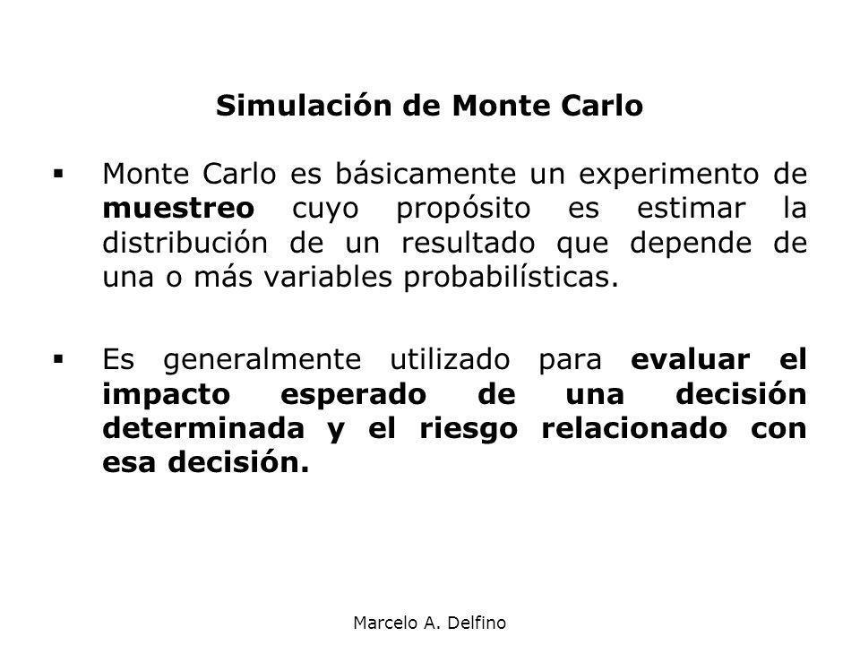 Marcelo A. Delfino Simulación de Monte Carlo Monte Carlo es básicamente un experimento de muestreo cuyo propósito es estimar la distribución de un res