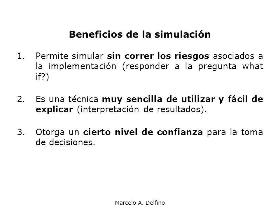 Marcelo A. Delfino Beneficios de la simulación 1.Permite simular sin correr los riesgos asociados a la implementación (responder a la pregunta what if