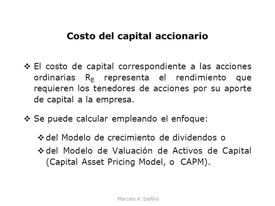 Marcelo A. Delfino Costo del capital accionario El costo de capital correspondiente a las acciones ordinarias R E representa el rendimiento que requie