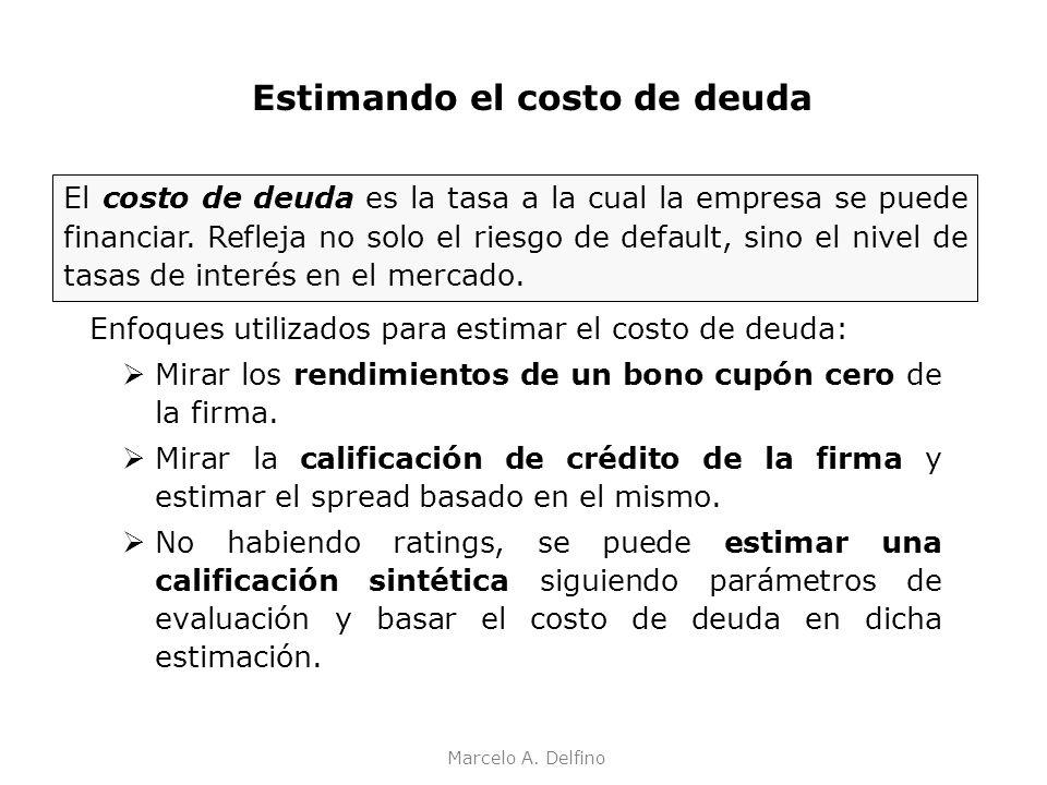 Marcelo A. Delfino Enfoques utilizados para estimar el costo de deuda: Mirar los rendimientos de un bono cupón cero de la firma. Mirar la calificación