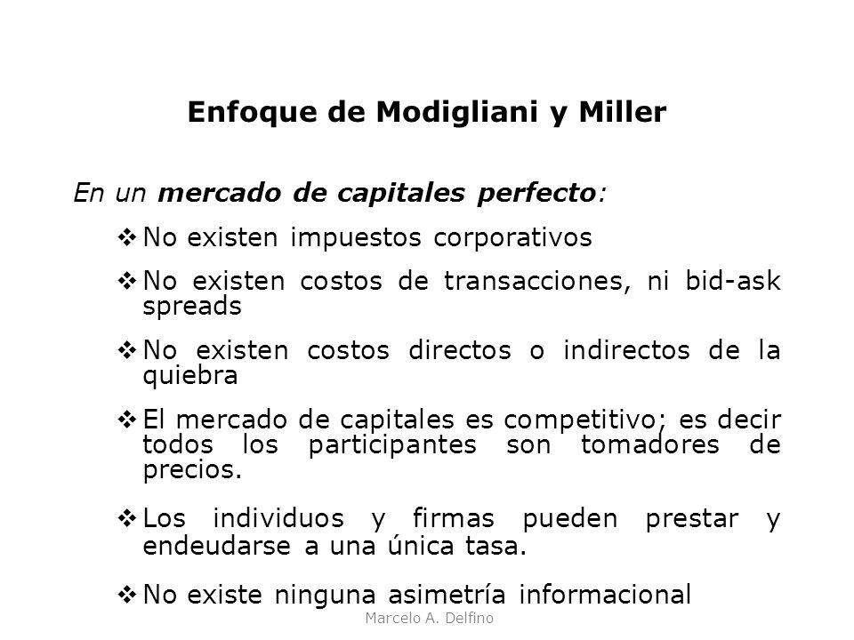 Marcelo A. Delfino Enfoque de Modigliani y Miller En un mercado de capitales perfecto: No existen impuestos corporativos No existen costos de transacc