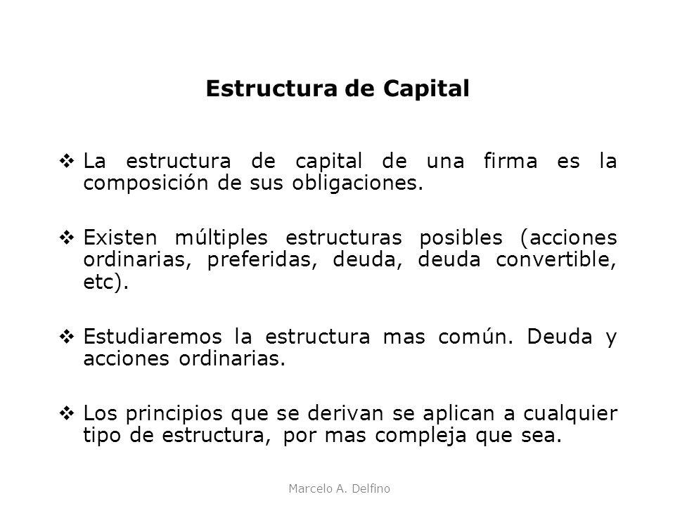 Marcelo A. Delfino Estructura de Capital La estructura de capital de una firma es la composición de sus obligaciones. Existen múltiples estructuras po