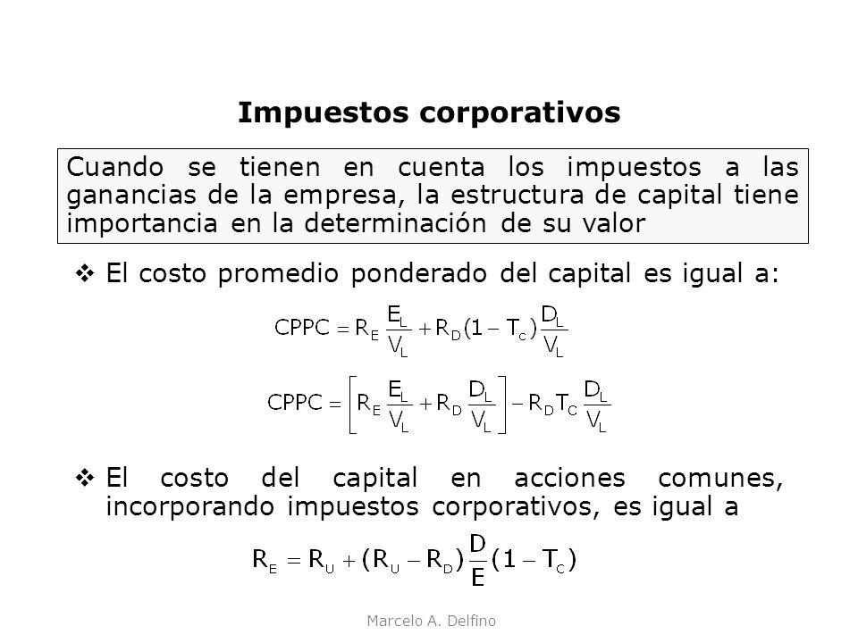 Marcelo A. Delfino Impuestos corporativos El costo promedio ponderado del capital es igual a: El costo del capital en acciones comunes, incorporando i