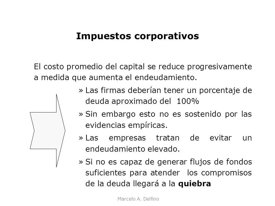 Marcelo A. Delfino Impuestos corporativos El costo promedio del capital se reduce progresivamente a medida que aumenta el endeudamiento. »Las firmas d