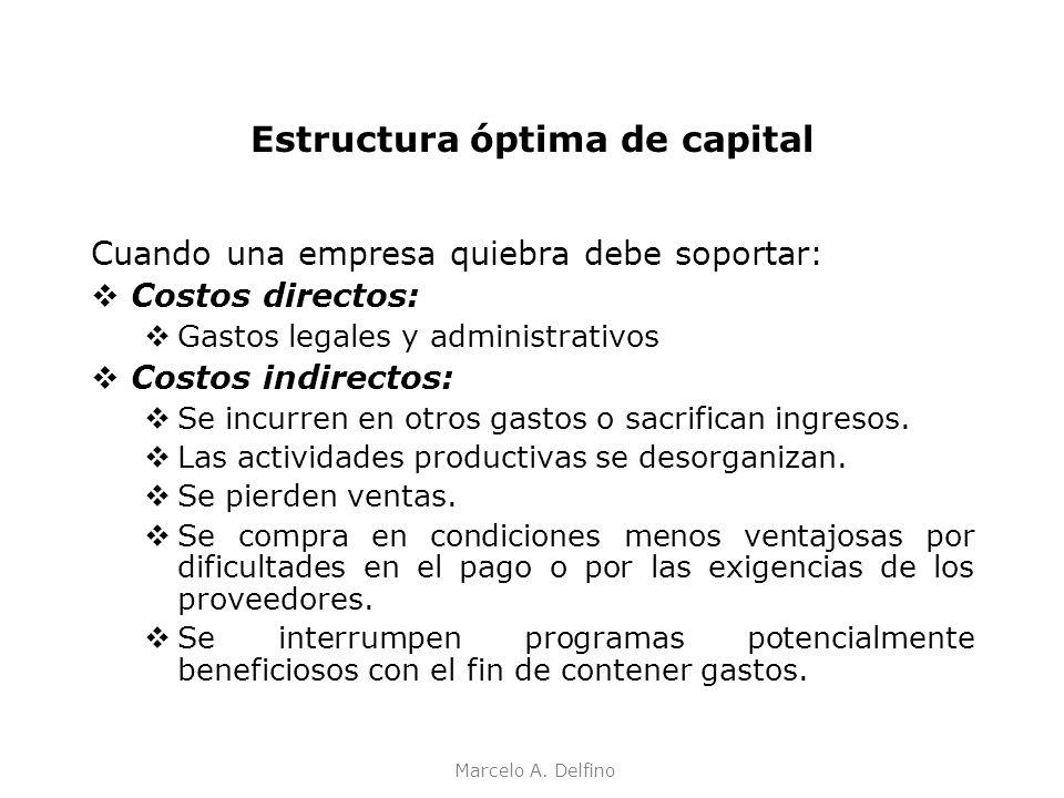 Marcelo A. Delfino Estructura óptima de capital Cuando una empresa quiebra debe soportar: Costos directos: Gastos legales y administrativos Costos ind