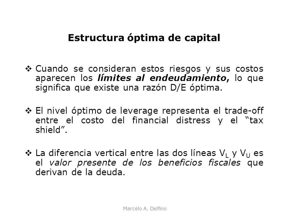 Marcelo A. Delfino Estructura óptima de capital Cuando se consideran estos riesgos y sus costos aparecen los límites al endeudamiento, lo que signific
