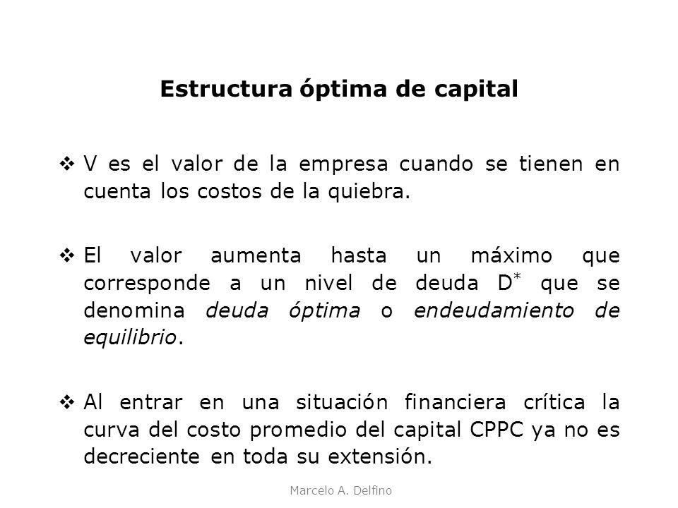 Marcelo A. Delfino Estructura óptima de capital V es el valor de la empresa cuando se tienen en cuenta los costos de la quiebra. El valor aumenta hast