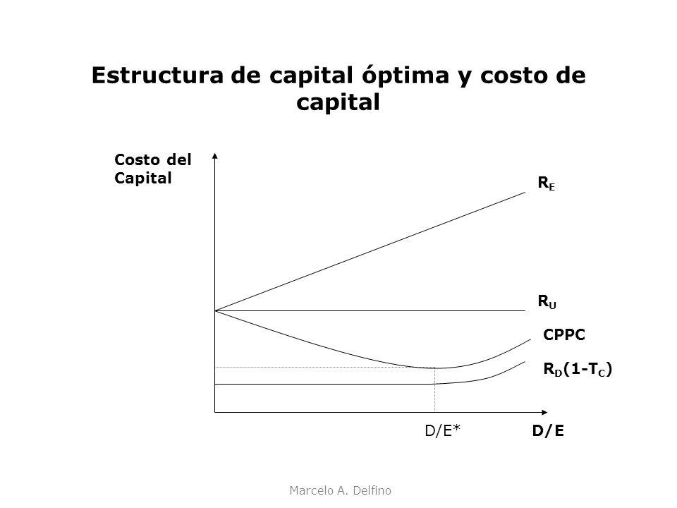 Marcelo A. Delfino Estructura de capital óptima y costo de capital Costo del Capital RERE RURU CPPC R D (1-T C ) D/ED/E*