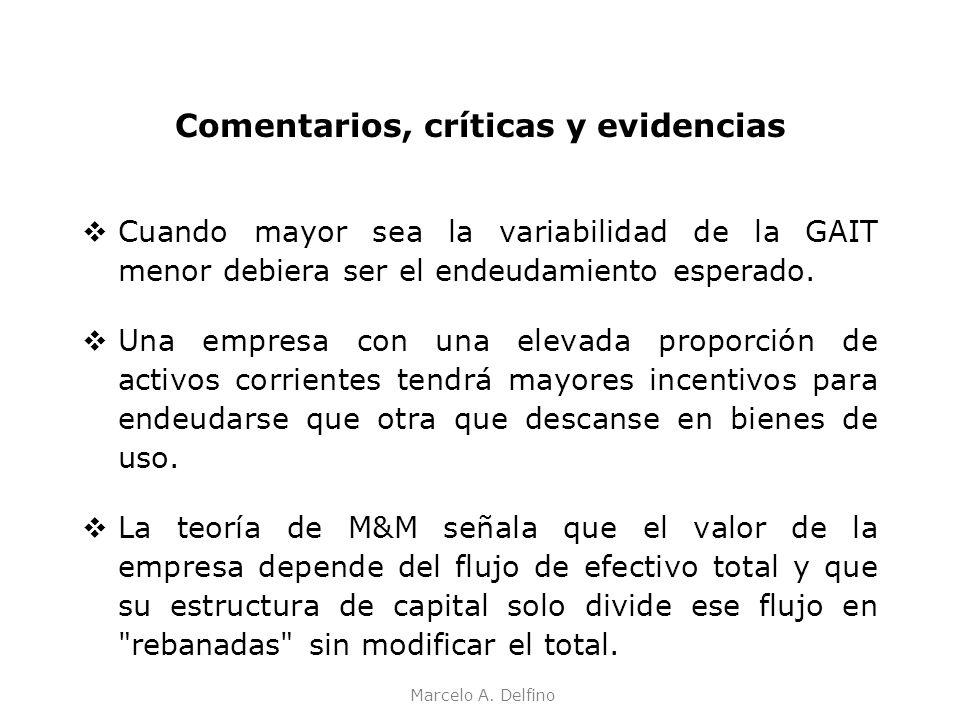 Marcelo A. Delfino Comentarios, críticas y evidencias Cuando mayor sea la variabilidad de la GAIT menor debiera ser el endeudamiento esperado. Una emp