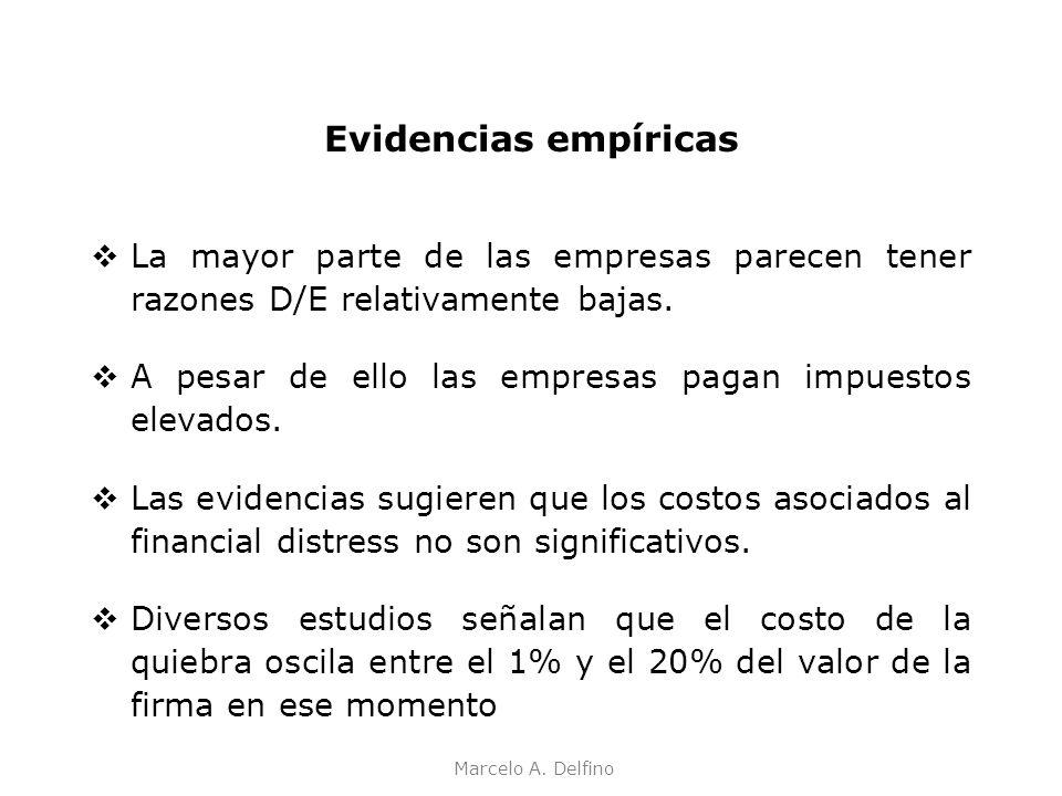 Marcelo A. Delfino Evidencias empíricas La mayor parte de las empresas parecen tener razones D/E relativamente bajas. A pesar de ello las empresas pag