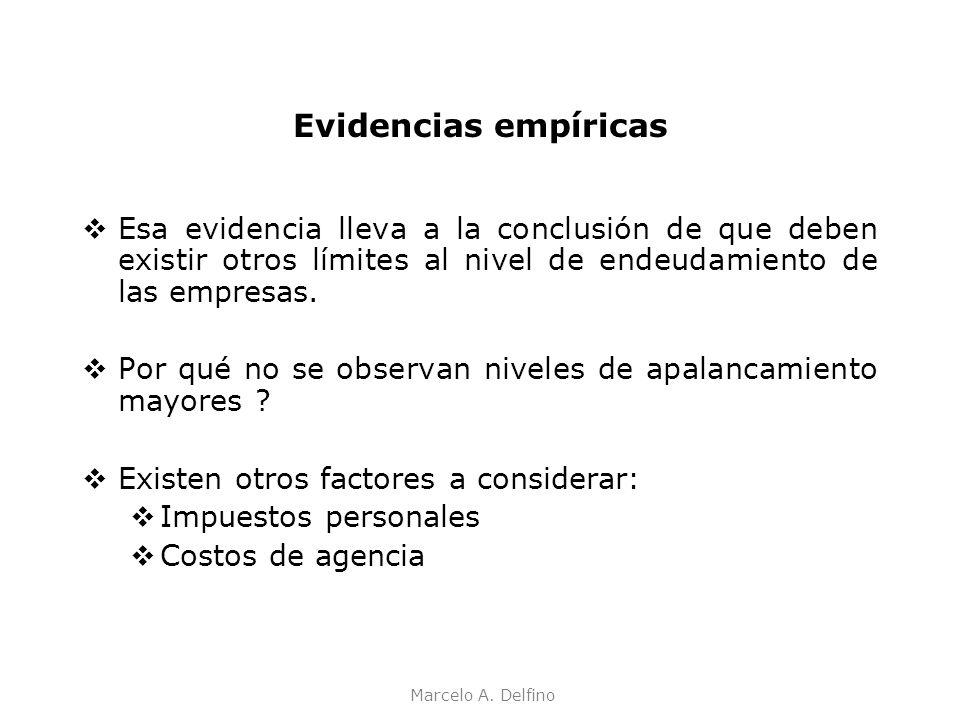 Marcelo A. Delfino Evidencias empíricas Esa evidencia lleva a la conclusión de que deben existir otros límites al nivel de endeudamiento de las empres