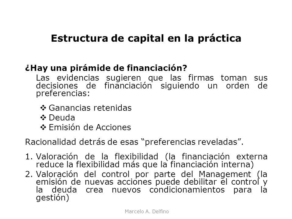 Marcelo A. Delfino Estructura de capital en la práctica ¿Hay una pirámide de financiación? Las evidencias sugieren que las firmas toman sus decisiones