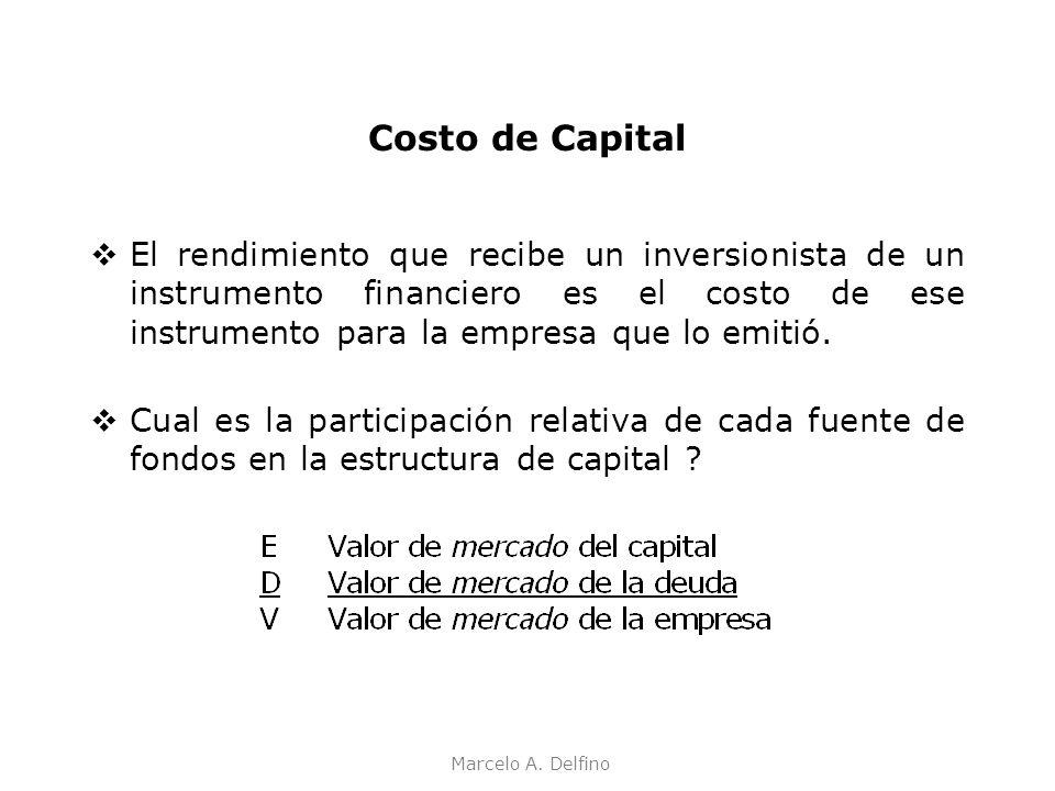 Marcelo A. Delfino Costo de Capital El rendimiento que recibe un inversionista de un instrumento financiero es el costo de ese instrumento para la emp