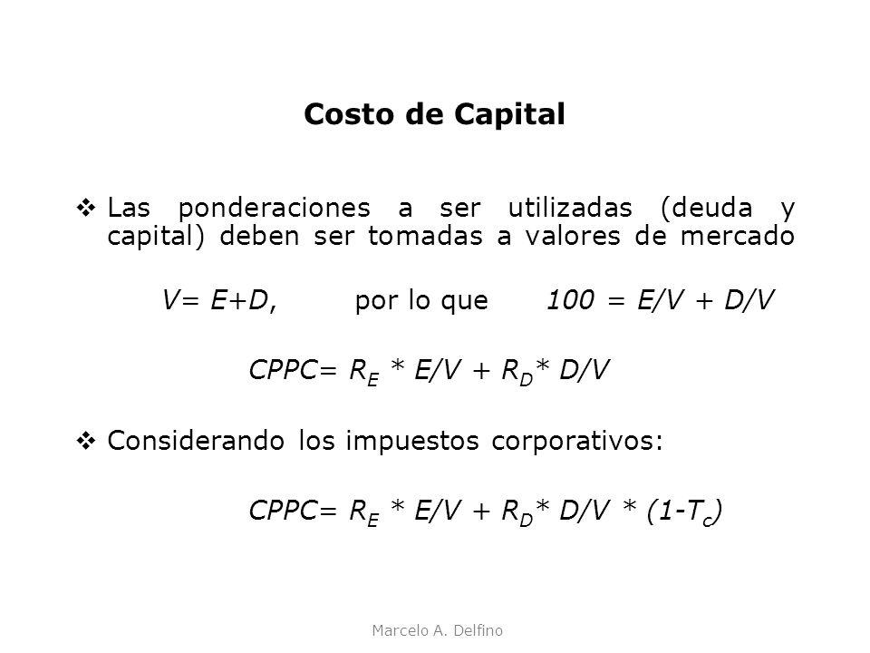 Marcelo A. Delfino Costo de Capital Las ponderaciones a ser utilizadas (deuda y capital) deben ser tomadas a valores de mercado V= E+D, por lo que 100