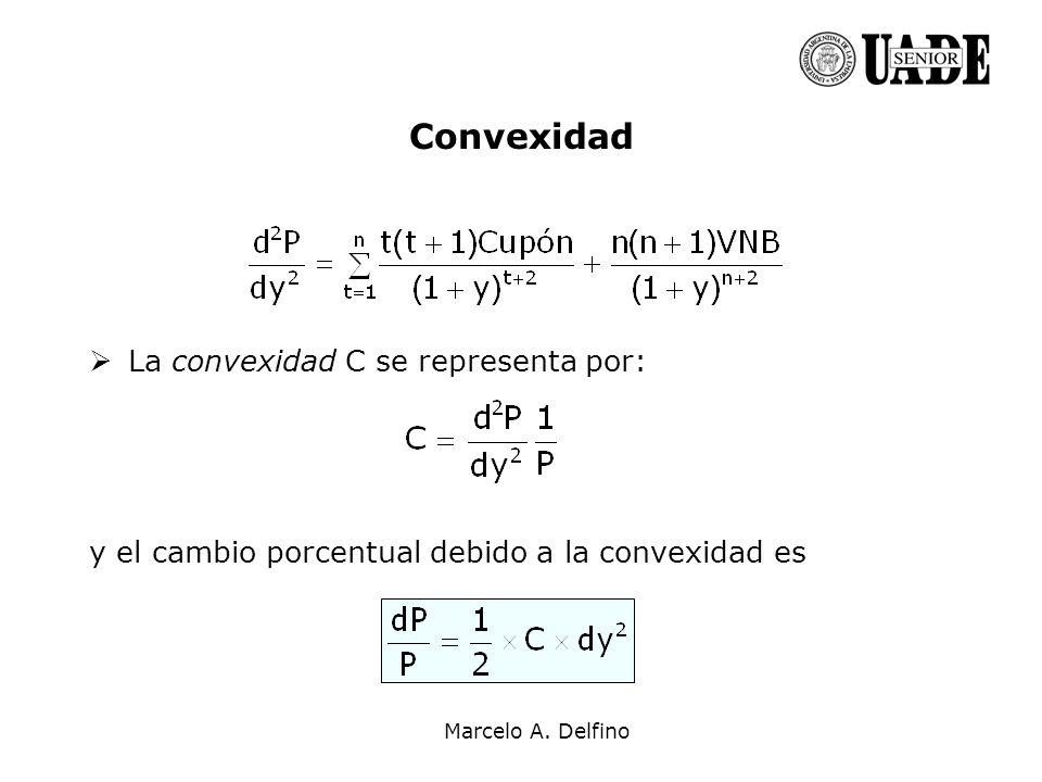 Marcelo A. Delfino Convexidad La convexidad C se representa por: y el cambio porcentual debido a la convexidad es