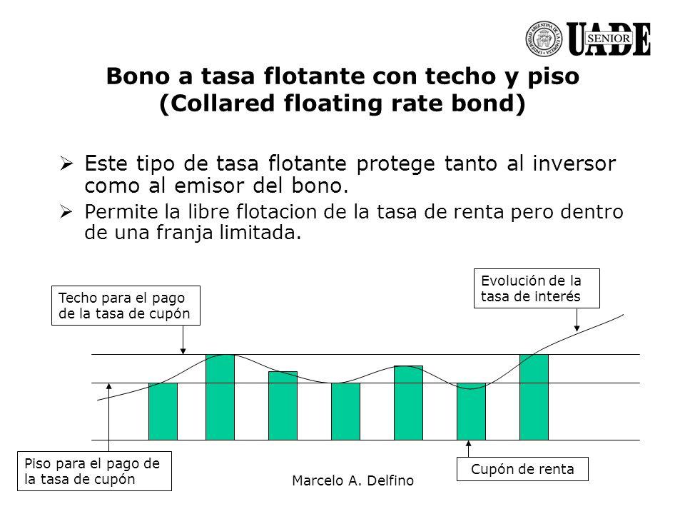 Marcelo A. Delfino Bono a tasa flotante con techo y piso (Collared floating rate bond) Este tipo de tasa flotante protege tanto al inversor como al em