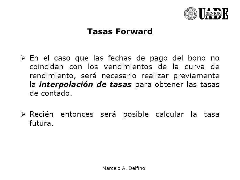 Marcelo A. Delfino Tasas Forward En el caso que las fechas de pago del bono no coincidan con los vencimientos de la curva de rendimiento, será necesar