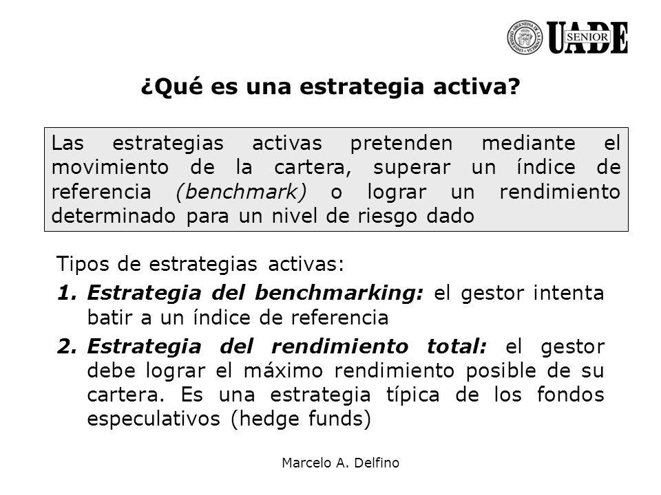 Marcelo A. Delfino ¿Qué es una estrategia activa? Tipos de estrategias activas: 1.Estrategia del benchmarking: el gestor intenta batir a un índice de