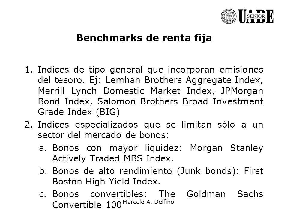 Marcelo A. Delfino Benchmarks de renta fija 1.Indices de tipo general que incorporan emisiones del tesoro. Ej: Lemhan Brothers Aggregate Index, Merril