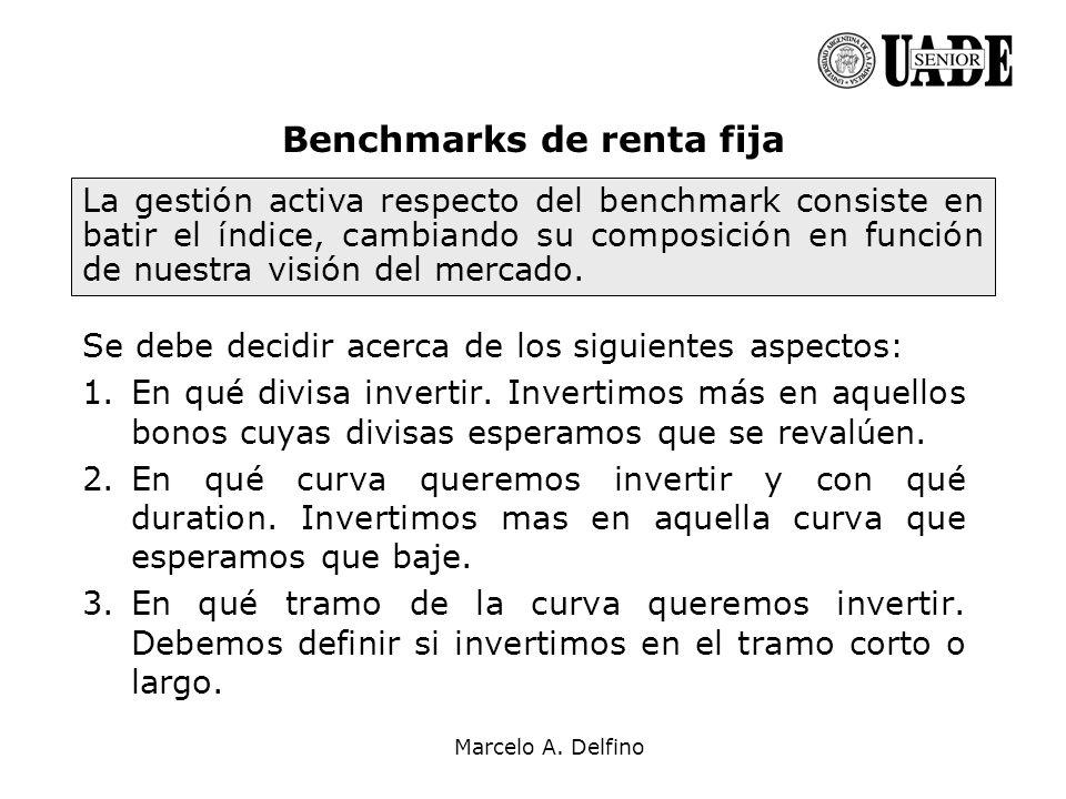 Marcelo A. Delfino Se debe decidir acerca de los siguientes aspectos: 1.En qué divisa invertir. Invertimos más en aquellos bonos cuyas divisas esperam